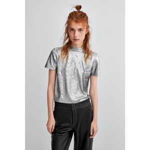 Zara silver sequins mock neck top
